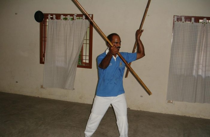 Dr Kannan Pugazhendi performing Indian martial Art